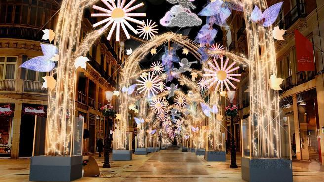 Recreación del 'Bosque de la Navidad', alumbrado navideño de la calle Larios de Málaga