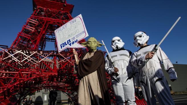 Manifestantes durante la Cumbre de París, COP21.