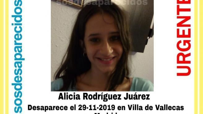 Alicia Rodríguez Juárez, de 15 años, desaparecida en Villa de Vallecas, Madrid.