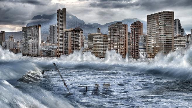 Simulación de lo que podría suceder con Benidorm por los efectos del cambio climático.