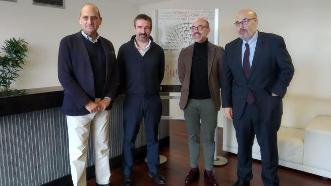 El exdirector de Fundación Siglo, Vicente Cuadrillero; el director de la OSCyL, Jordi Gimeno; el consejero de Cultura y Turismo, Javier Ortega, y el nuevo director de la Fundación Siglo, Juan González-Posada.