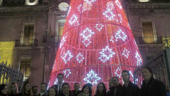 Iluminación navideña del Palacio Provincial de Jaén