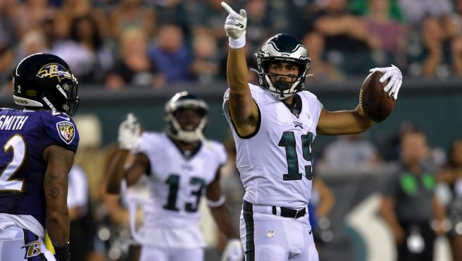 El español JJ Arcega, durante un partido de los Eagles