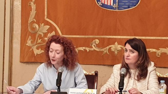 La Teniente De Alcalde De Salamanca Ana Suárez (I) En Rueda De Prensa Este Lunes Junto A La Edil Del PP María Victoria Bermejo.