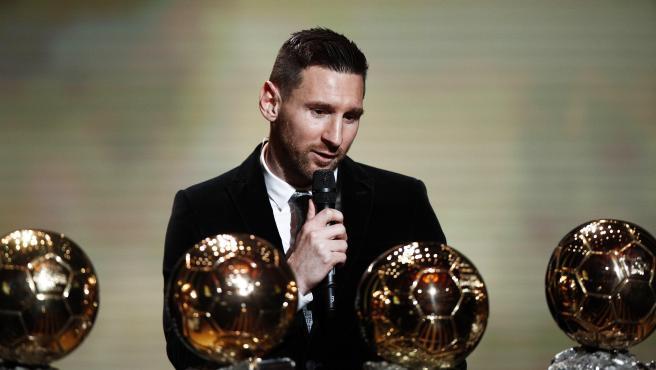 Messi, durante la gala en la que recogió su sexto Balón de Oro.