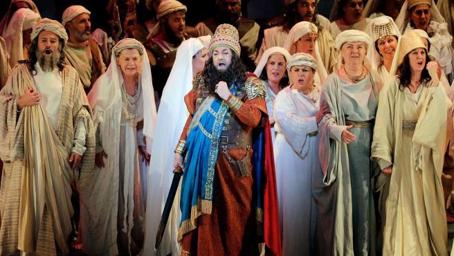 Plácido Domingo, durante el ensayo general ópera de Verdi 'Nabucco' en el Palau de les Arts de Valencia, su primera actuación en España tras las acusaciones de acoso sexual.