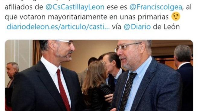 Tuit de la portavoz del Grupo Parlamentario de Ciudadanos en las Cortes, Ana Carlota Amigo.