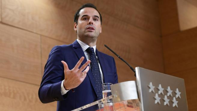 El vicepresidente regional, Ignacio Aguado, este martes durante la rueda de prensa posterior al Consejo de Ministros.