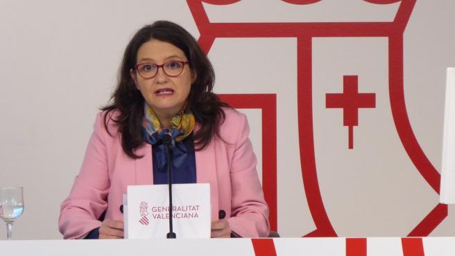 La vicepresidenta del Consell, Mónica Oltra, en la rueda de prensa tras el pleno del Consell