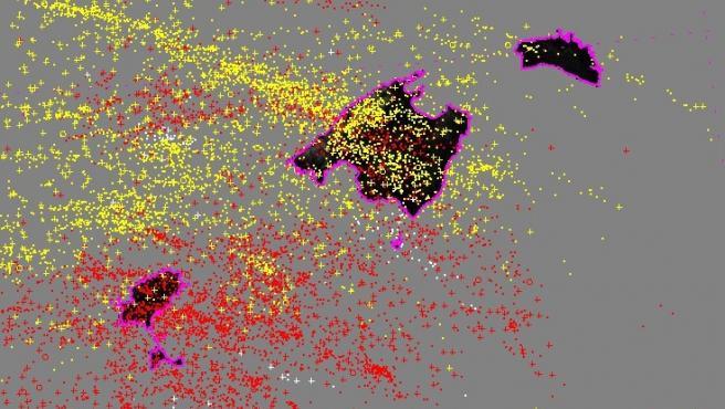 Mapa de descragas eléctricas en Baleares.