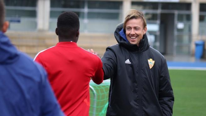 José María Gutiérrez 'Guti', durante un entrenamiento del Almería.