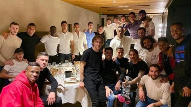 Los jugadores del Real Madrid, en su cena de Nacidad.