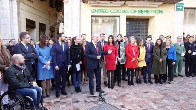 El alcalde de Málaga, Francisco de la Torre, interviene en el acto del 41 aniversario de la Constitución.