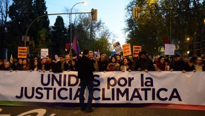 La secretaria general de Podemos Baleares, Mae de la Concha, en la manifestación por el clima en Madrid