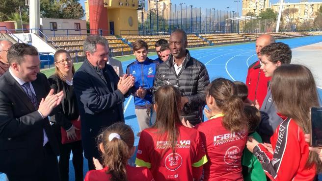 Michael Johnson, durante su visita a Sevilla