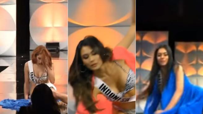 Tres caídas de las representantes de Francia, Indonesia y Malasia en un desfile de Miss Universo 2019.