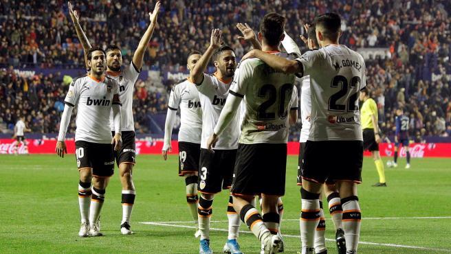 Celebración del Valencia contra el Levante