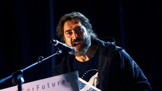 Javier Bardem durante su intervención en la Marcha por el Clima este viernes en Madrid.