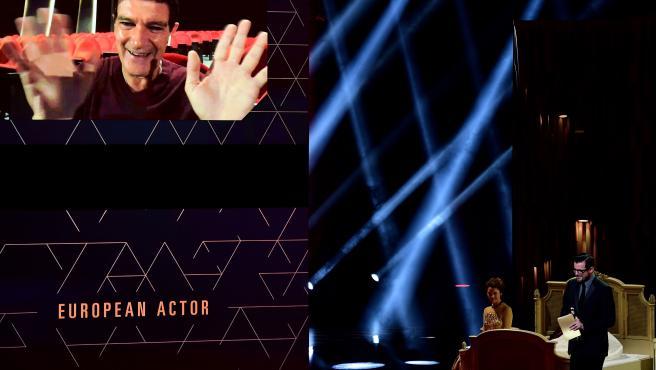 Antonio Banderas saluda por videoconferencia tras ganar el premio de mejor actor en los Premios del Cine Europeo.