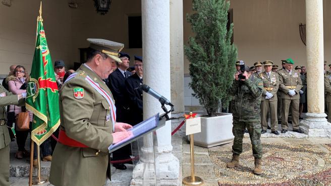 El general José Rivas Moriana en la lectura de su discurso durante los actos en honor a María Inmaculada.