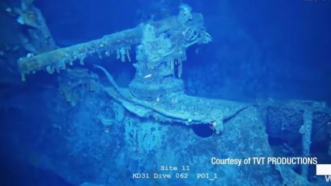 Imagen submarina del pecio del SMS Scharnhorst, buque alemán hundido en 1914 en la I Guerra Mundial.