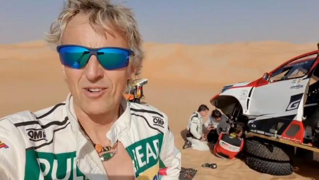 Jesús Calleja, durante los test para el rally Dakar con Fernando Alonso.