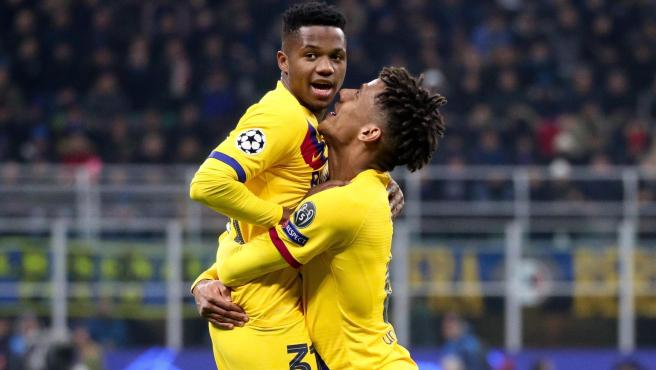 Ansu Fati celebra su gol en el Inter de Milán - Barcelona.