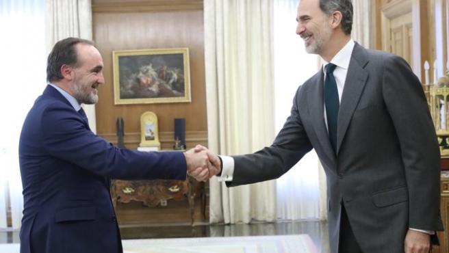 El Rey Felipe VI recibe al presidente de UPN, Javier Esparza