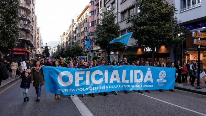Manifestación por la oficialidad del Asturiano en Oviedo.