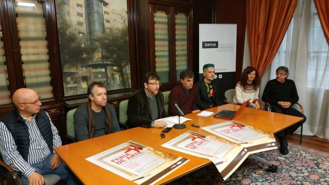 Presentación de la Feria de Arte de la Fundación Caja Rioja Bankia Gran Vía con sus participantes, Pako Campo, Óscar Cenzano, Javier Garrido, Raquel Marín y Vicente Peiró