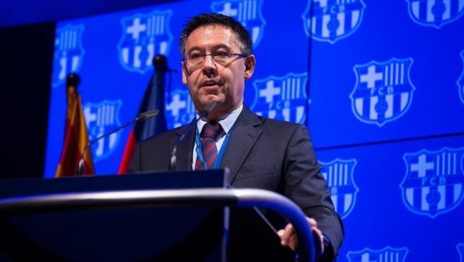 El presidente del FC Barcelona, Josep Maria Bartomeu, en su discurso ante el Senado del club