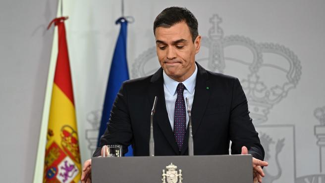 El presidente del Gobierno en funciones, Pedro Sánchez, en rueda de prensa.