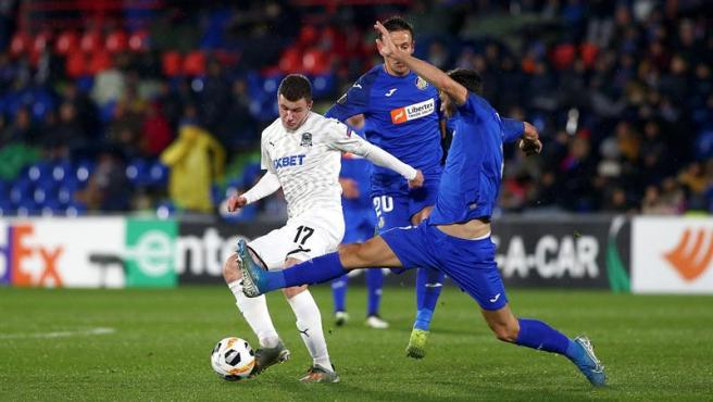 El Getafe, en el partido ante el Krasnodar.