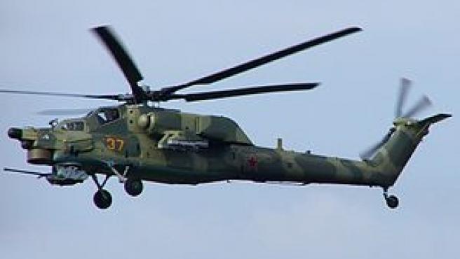 """Helicóptero de combate ruso Mi-28, conocido como el """"cazador nocturno""""."""