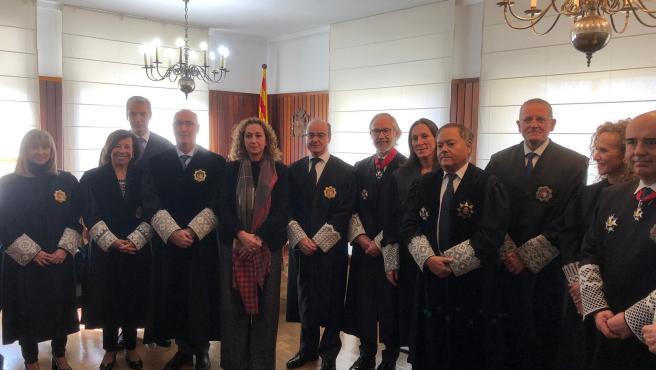 Toma de posesión del nuevo presidente de la Audiencia de Tarragona, Joan Perarnau, con asistencia de la consellera de Justicia, Ester Capella, y el presidente del Tribunal Superior de Justicia de Catalunya (TSJC), Jesús María Barrientos.
