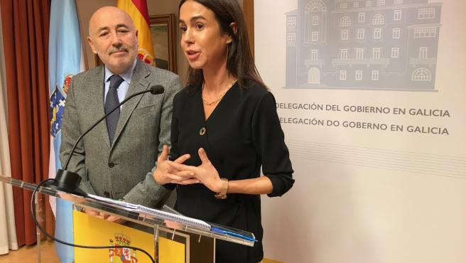 El delegado del Gobierno en Galicia, Javier Losada, y la presidenta de Adif,Isabel Pardo de Vera, informan sobre el AVE