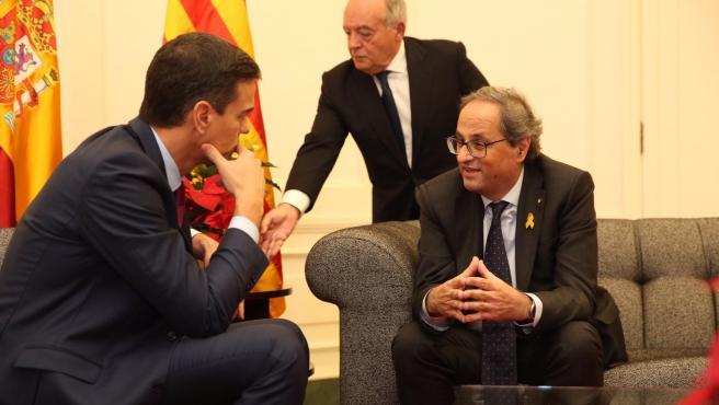 El pte.Del Gobierno, Pedro Sánchez, y el pte.De la Generalitat, Quim Torra