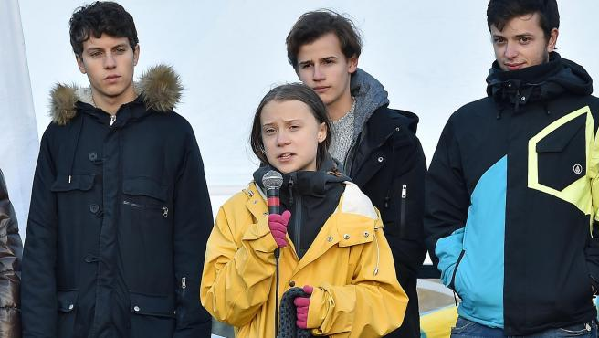 La activista sueca Greta Thunberg, este viernes en Turín.