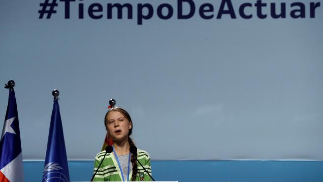 La activista sueca Greta Thunberg durante su intervención el plenario de la Cumbre del Clima de Madrid.