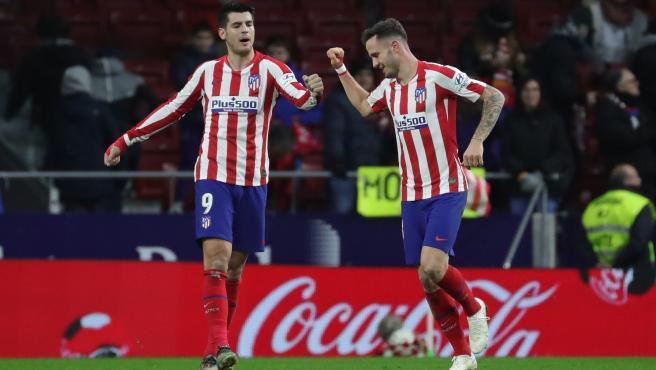 Morata y Saúl celebran un gol del Atlético.