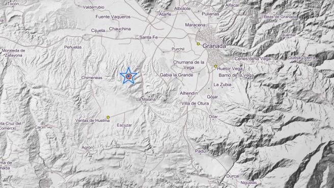 Mapa del Instituto Geográfico Nacional que muestra un terremoto producido en Granada.
