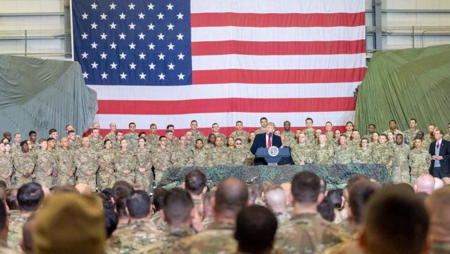 Donald Trump durante un discurso a las tropas norteamericanas en Afganistán.