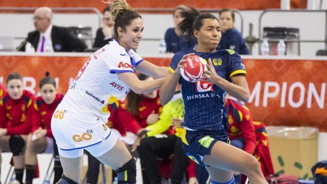 Partido entre la selección española femenina de balonmano y Suecia en el Mundial
