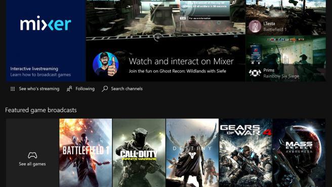 Una portada de Mixer, la plataforma de 'streaming' de Microsoft.