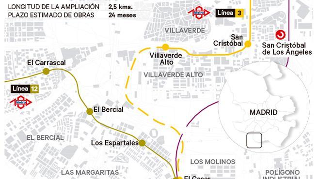 Plano de ampliación de la línea 3 de Metro de Madrid.