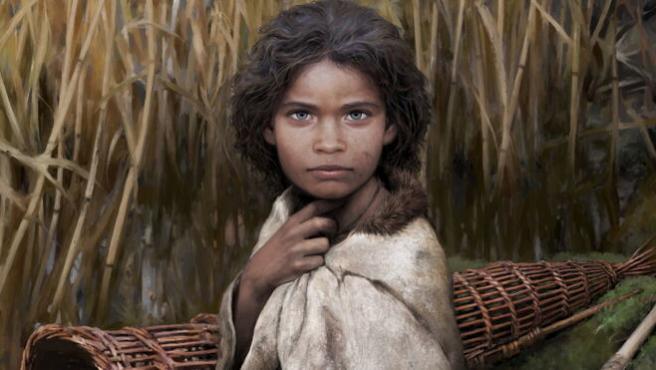 Recreación artística del aspecto que podría tener 'Lola', como ha sido llamada una chica que mascó un 'chicle' de resina de abedul hace 5.700 años, según el ADN hallado en el material.