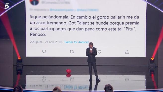 Santi Millán se planta contra el ciberacoso en 'Got Talent'.