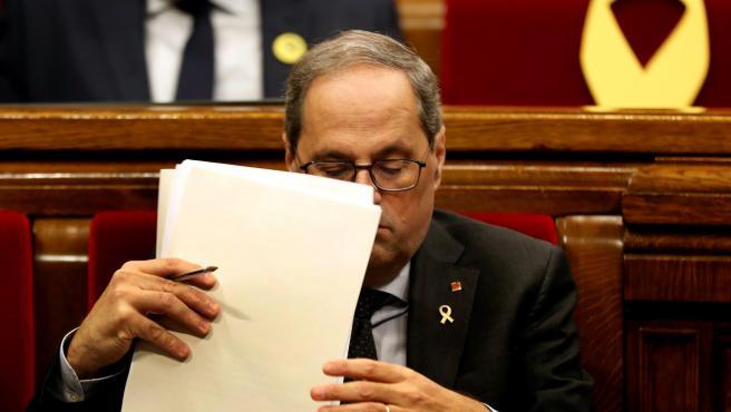 Quim Torra, en la última sesión de control del año en el Parlament.