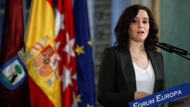 La presidenta de la Comunidad de Madrid, Isabel Díaz Ayuso, durante su intervención en un desayuno de Nueva Economía Fórum.