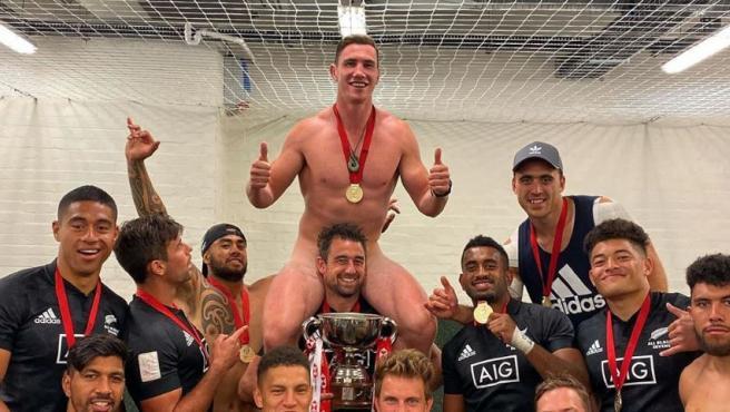 Así celebraron los All Blacks su título